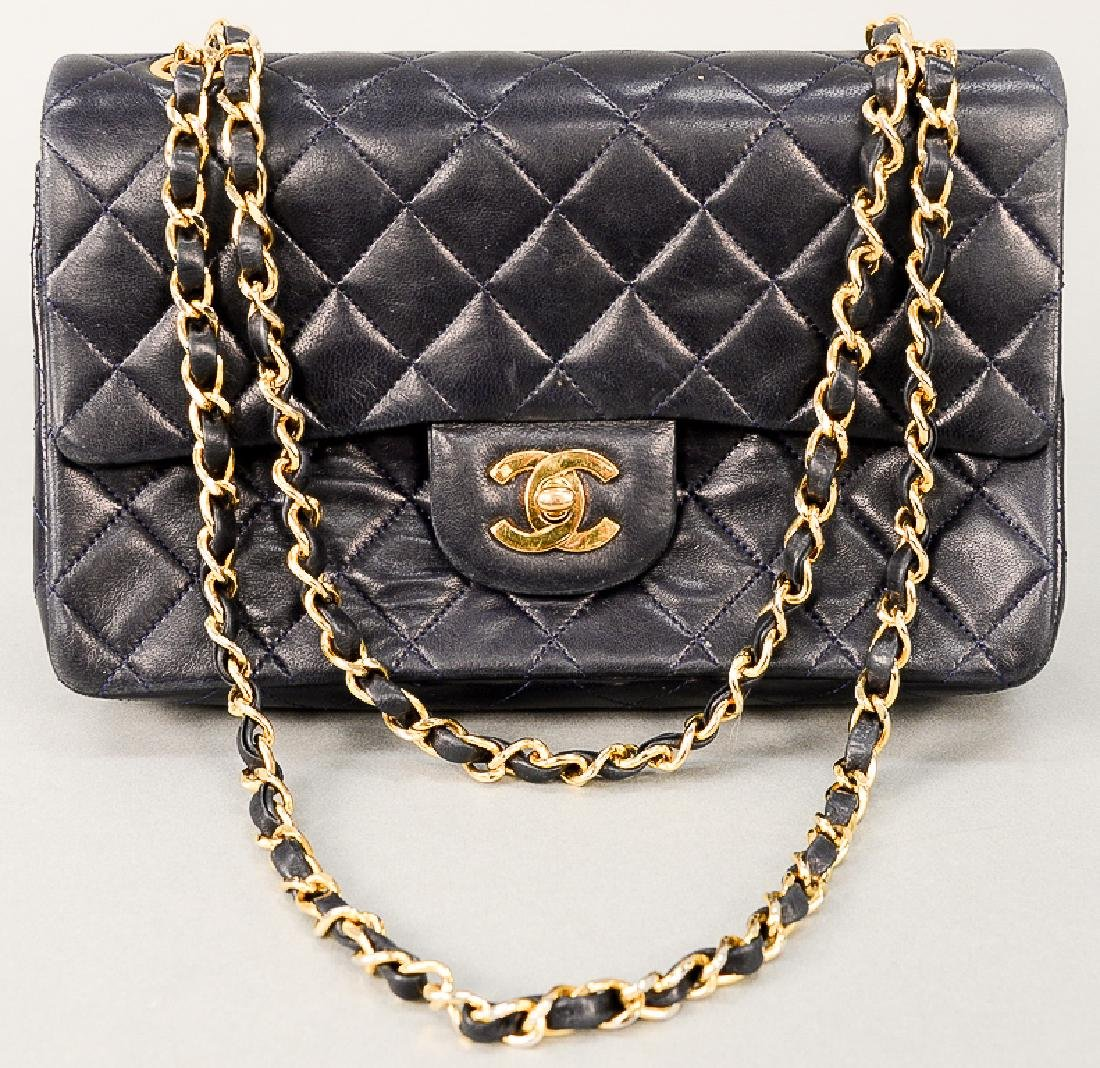 Chanel quilted navy lambskin leather double flap small