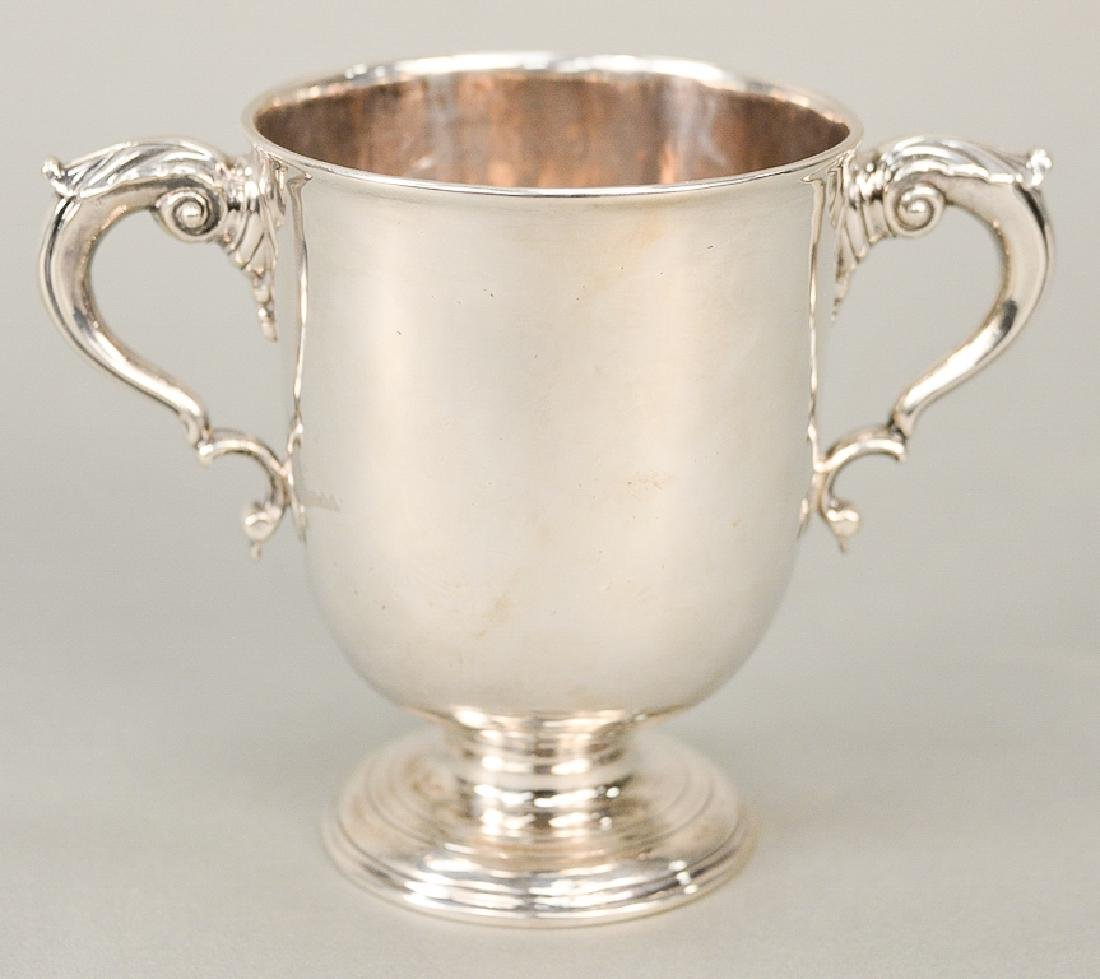 Georgian Irish silver two handled cup.  ht. 5 1/4 in.