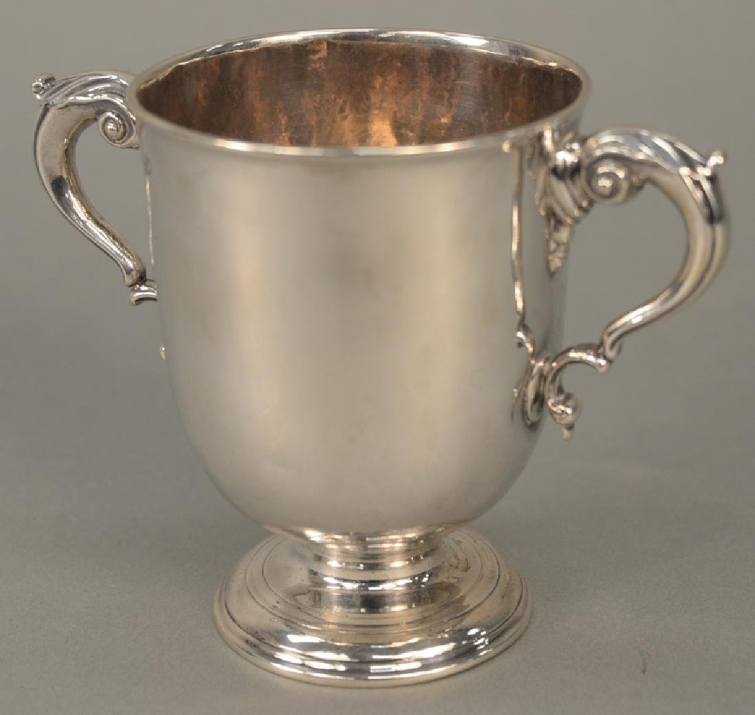 Georgian Irish silver two handled cup.  ht. 5 1/4 in. - 4