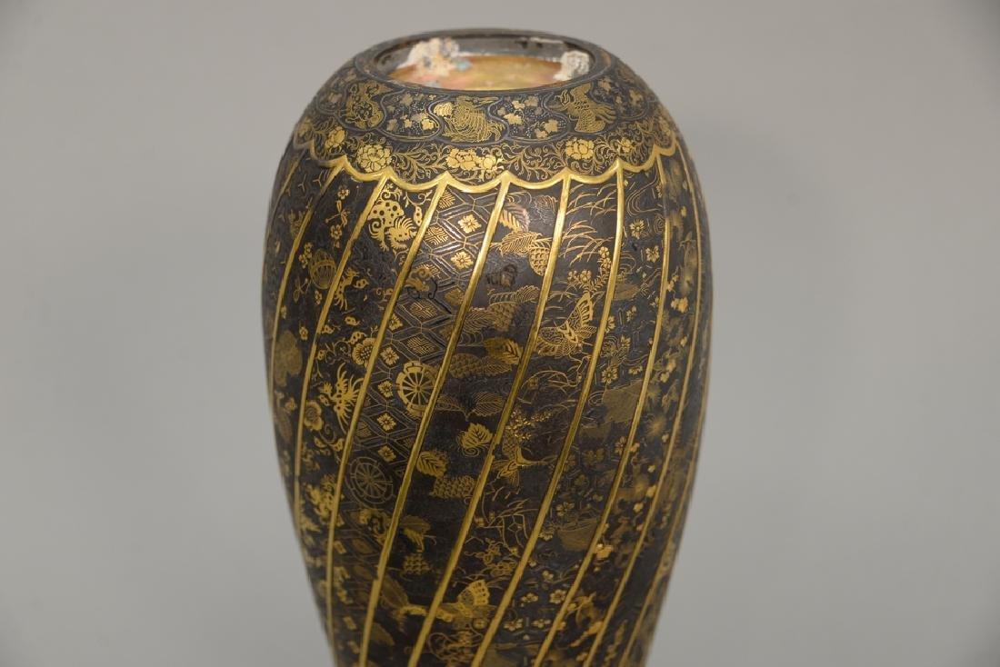 Komai damascene mixed metal plum vase, overall gold and - 2