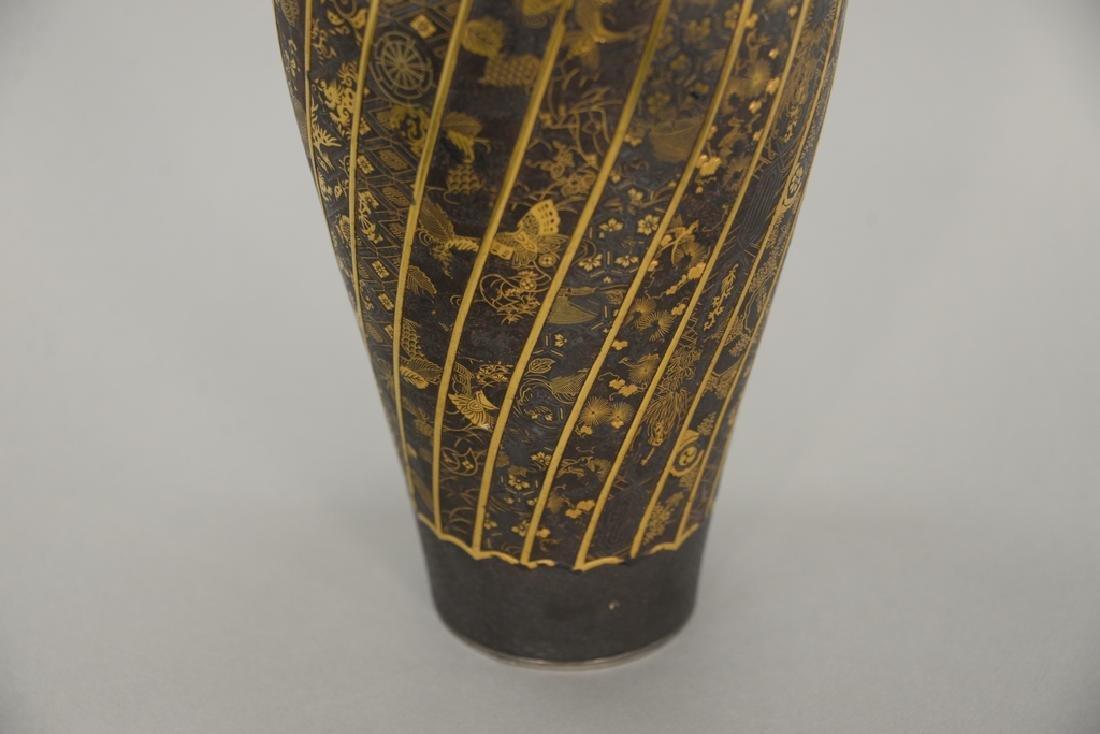 Komai damascene mixed metal plum vase, overall gold and - 3