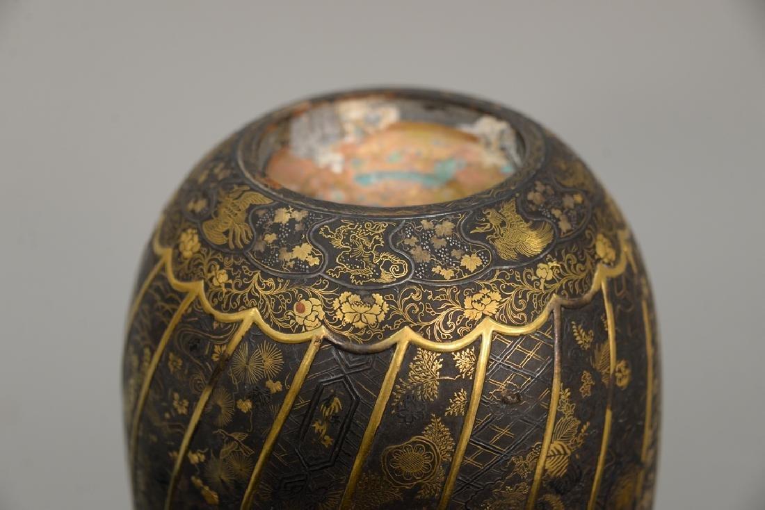 Komai damascene mixed metal plum vase, overall gold and - 4