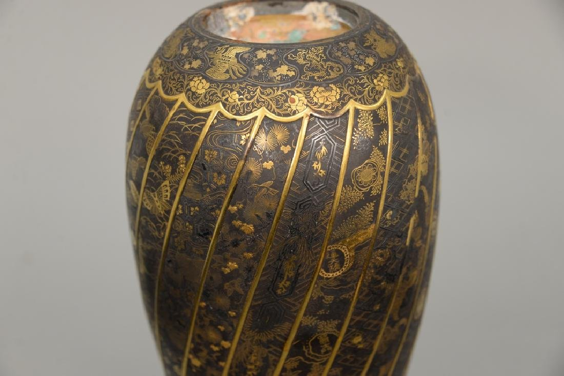 Komai damascene mixed metal plum vase, overall gold and - 5