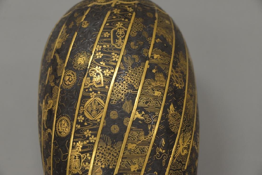 Komai damascene mixed metal plum vase, overall gold and - 6