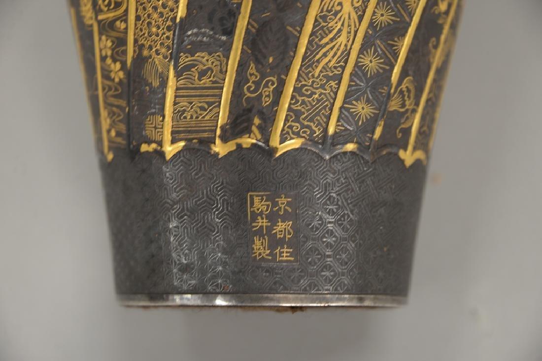Komai damascene mixed metal plum vase, overall gold and - 7