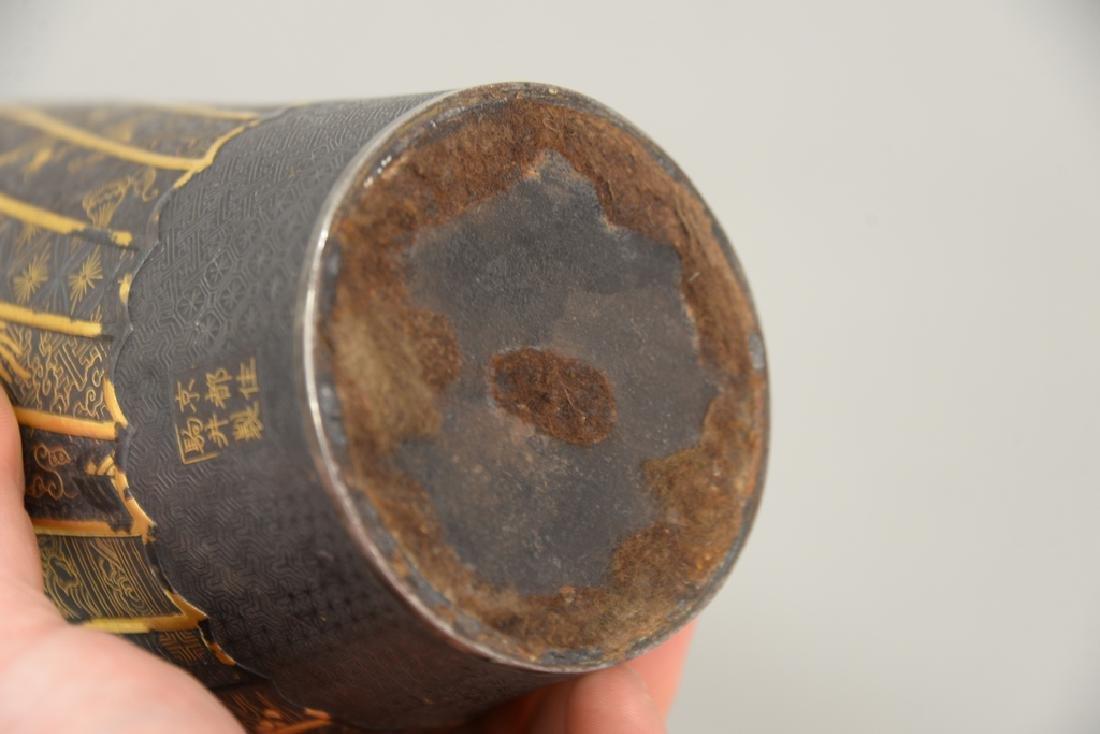 Komai damascene mixed metal plum vase, overall gold and - 8
