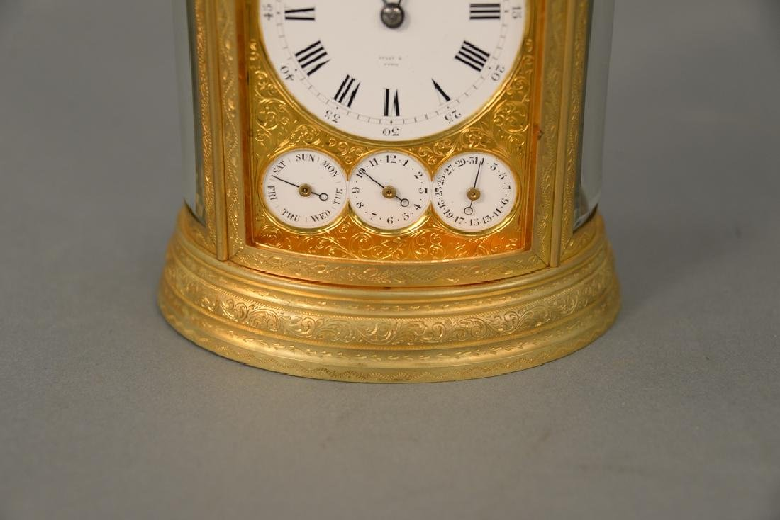 Oval Tiffany & Co. carriage clock, white enameled dial - 2