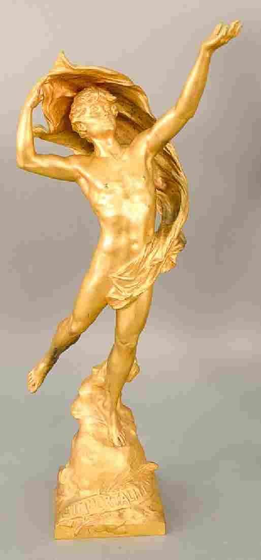 Eugene Marioton (1854-1933),  gilt bronze male figure,