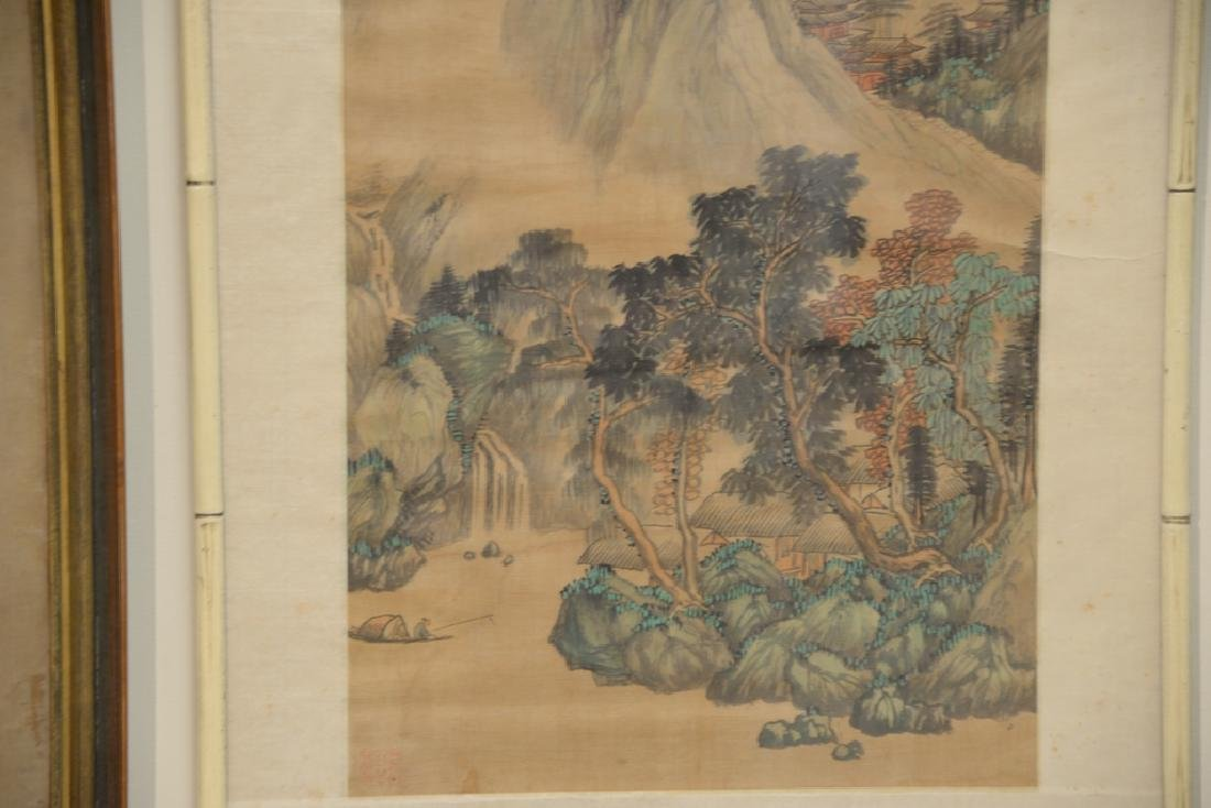 Chinese watercolor on silk, mountainous landscape - 2