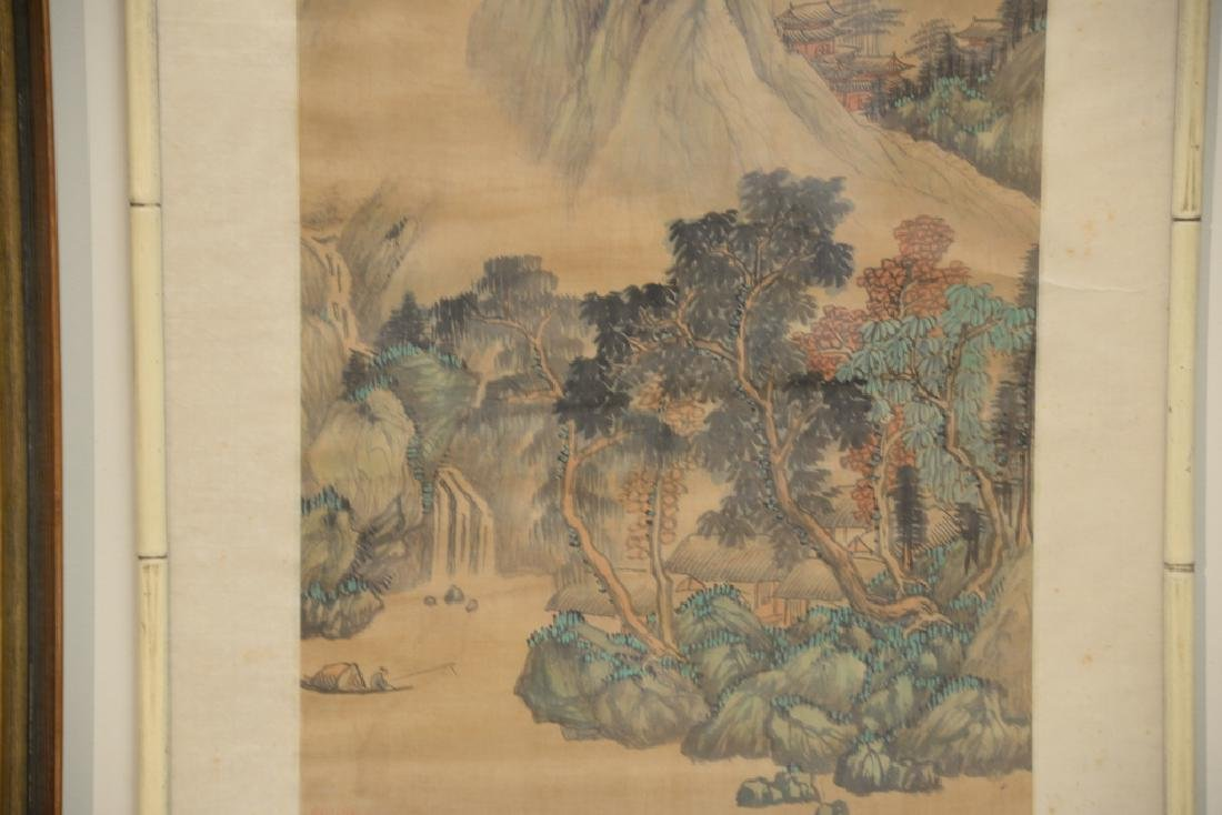 Chinese watercolor on silk, mountainous landscape - 3