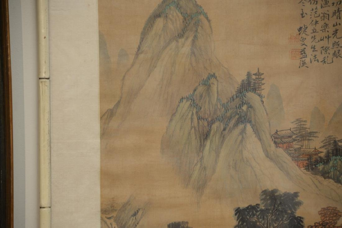 Chinese watercolor on silk, mountainous landscape - 5