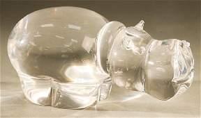 Large Steuben crystal hippopotamus glass figure, #8280,