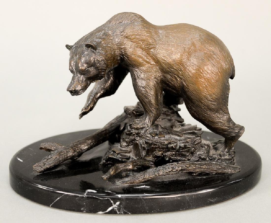 William Davis,  bronze grizzly bear on oval granite