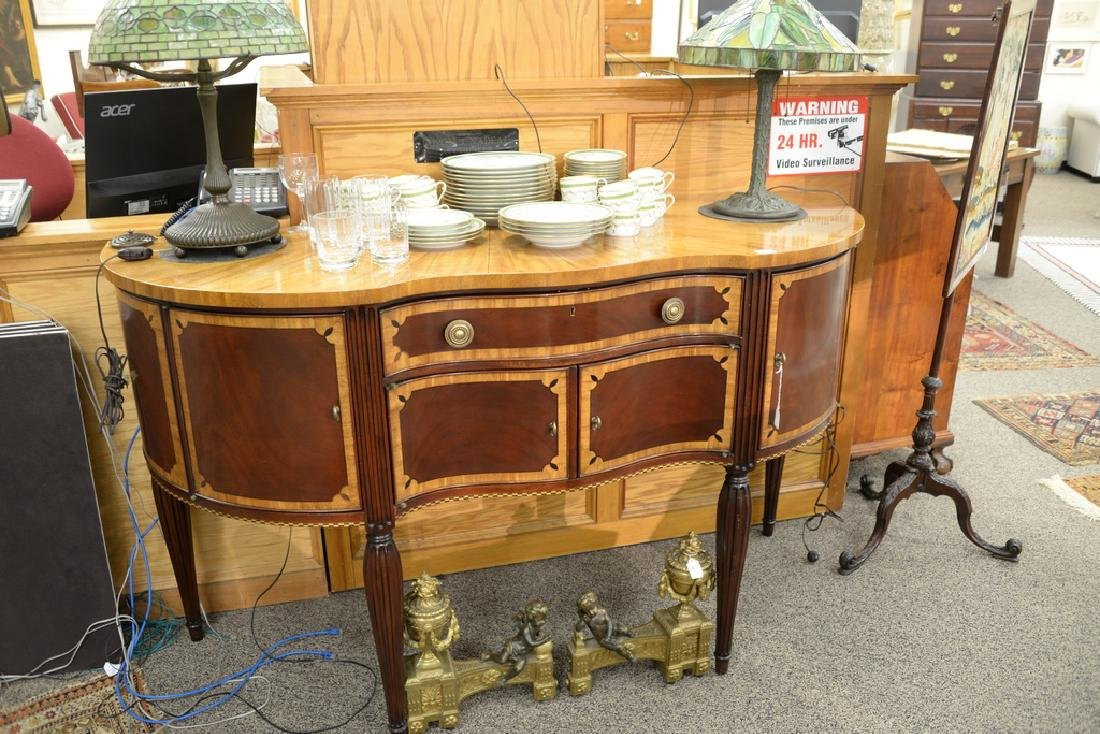 Council mahogany inlaid Sheraton style sideboard with - 2