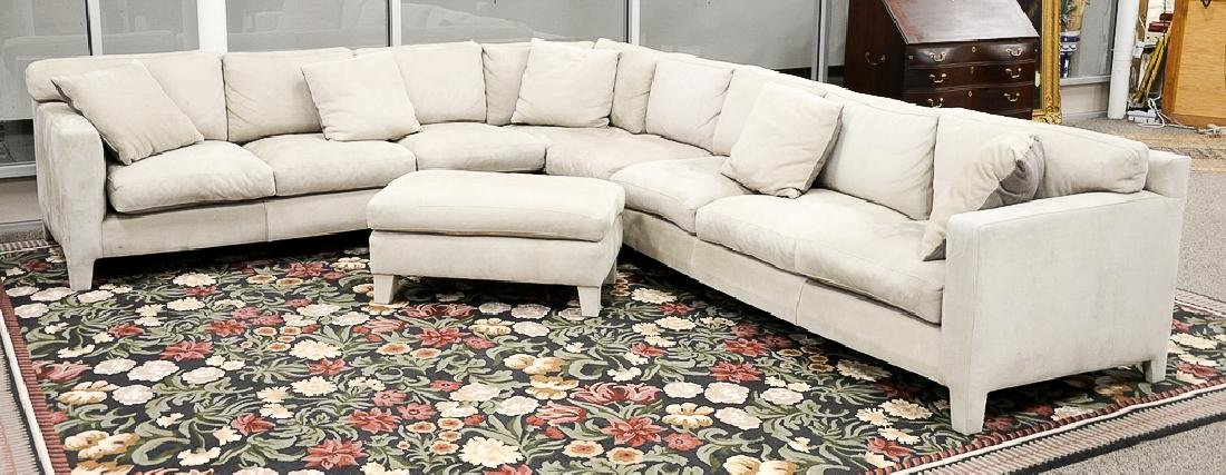 Large custom Nubuck leather sectional sofa with