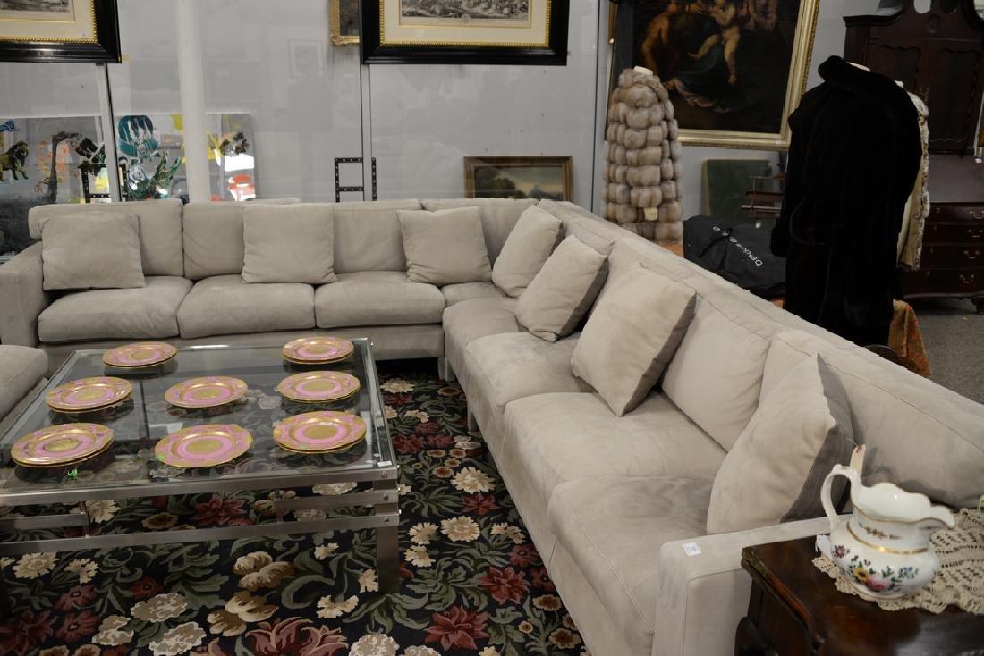 Large custom Nubuck leather sectional sofa with - 2