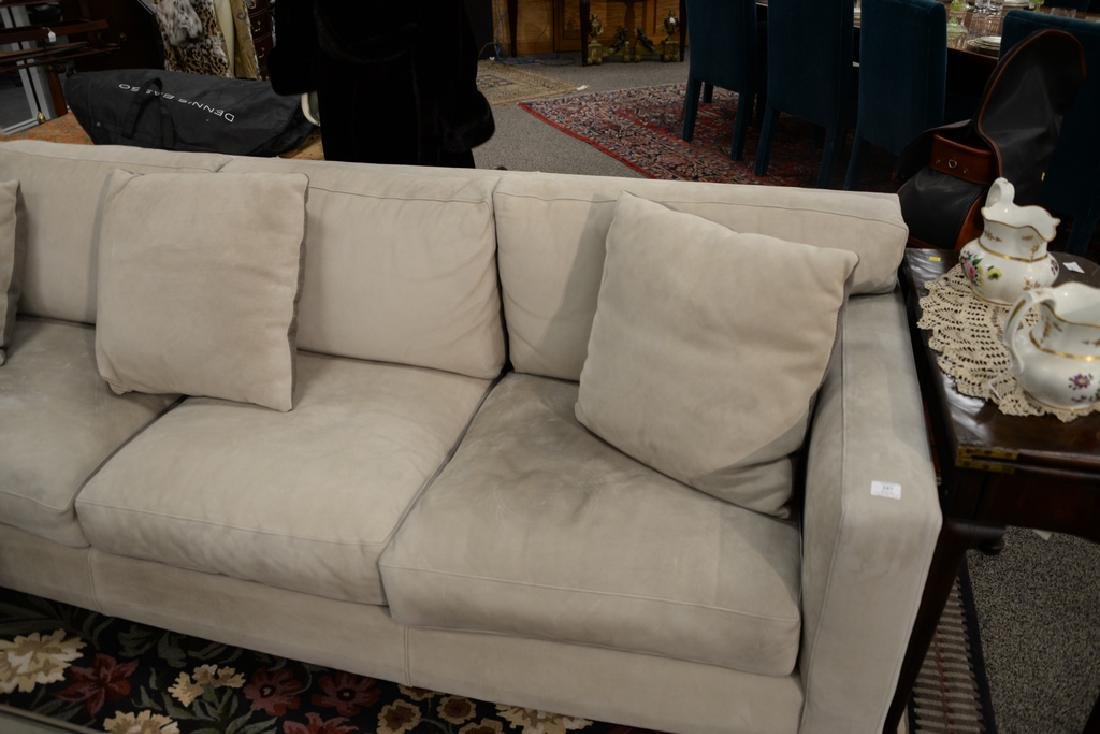 Large custom Nubuck leather sectional sofa with - 3