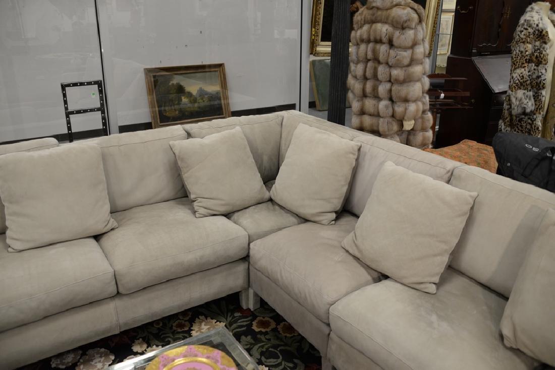 Large custom Nubuck leather sectional sofa with - 4