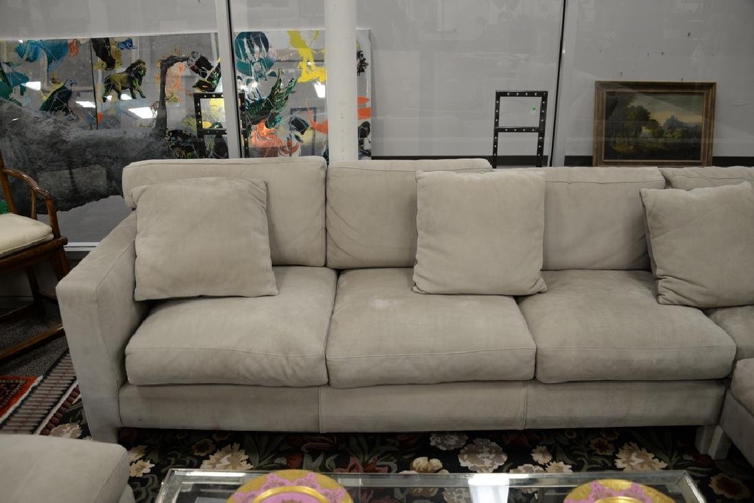 Large custom Nubuck leather sectional sofa with - 5