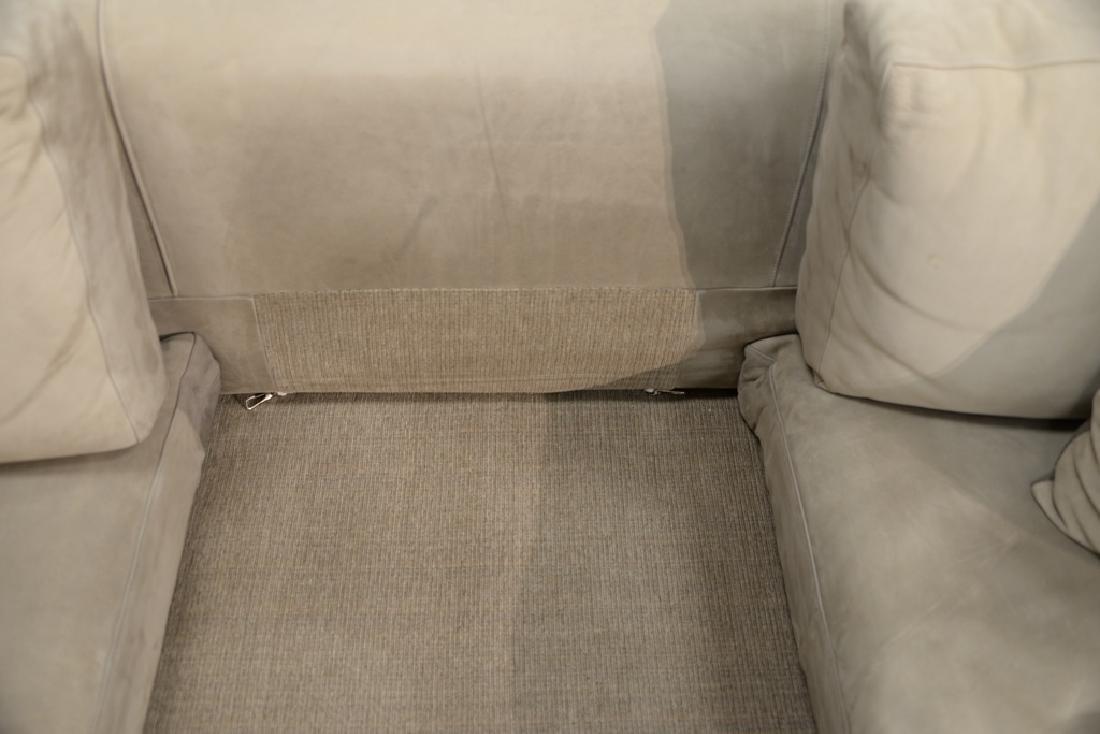 Large custom Nubuck leather sectional sofa with - 7