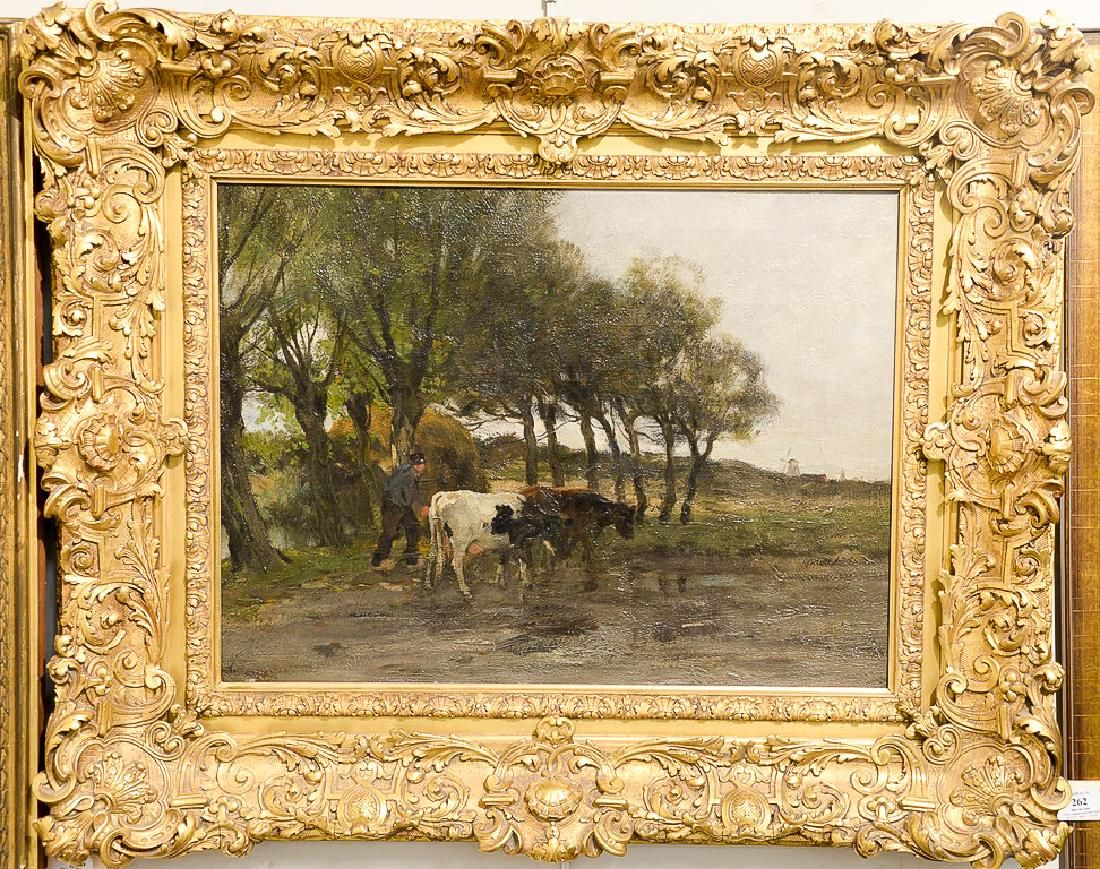Charles Paul Gruppe (1860-1940),  oil on canvas,  Cows