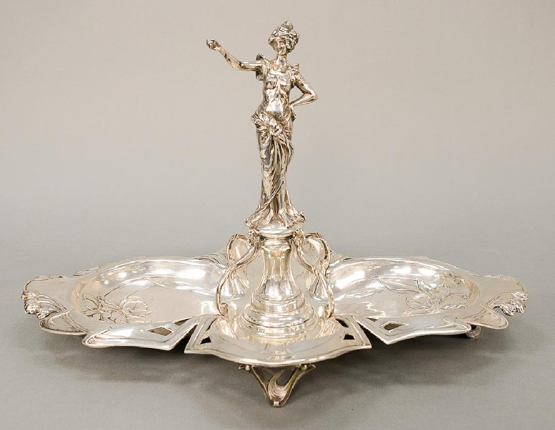 Continental silver epergne with central figure of a
