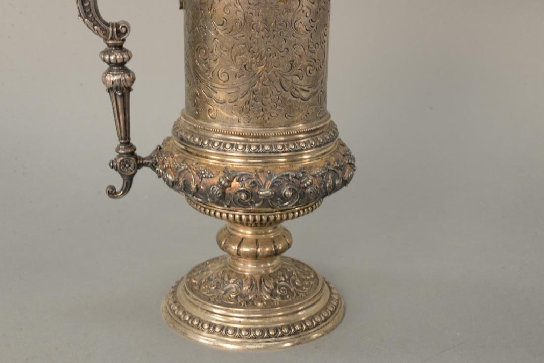 Continental silver tankard with winged griffin finial, - 2