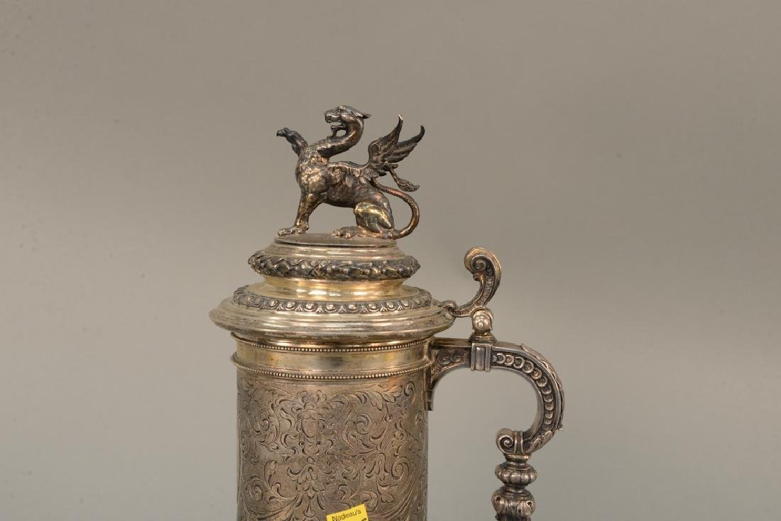 Continental silver tankard with winged griffin finial, - 4