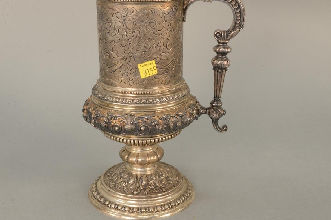 Continental silver tankard with winged griffin finial, - 5