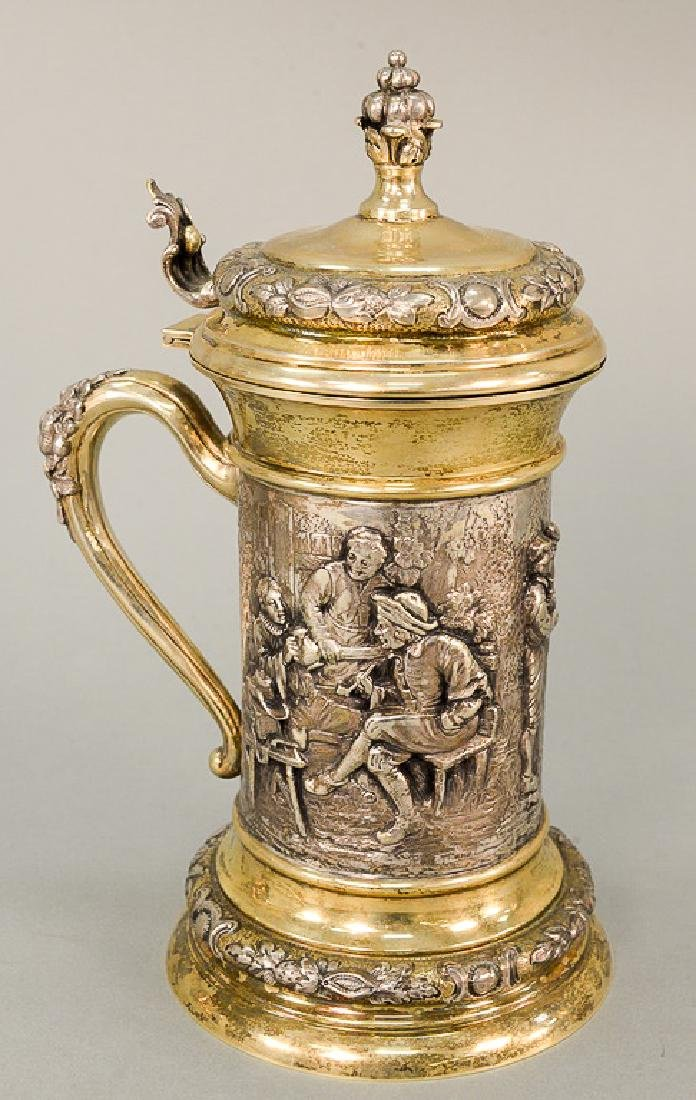 Continental silver tankard top and bottom gilt