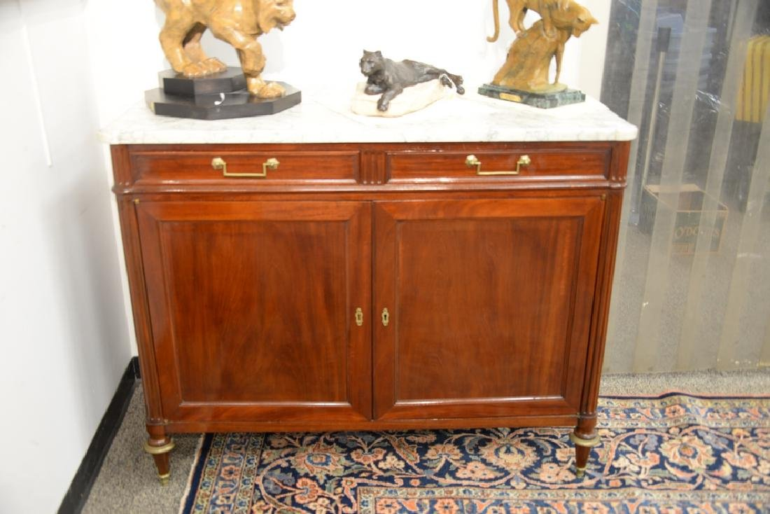 Louis XV style mahogany cabinet having marble top with - 2