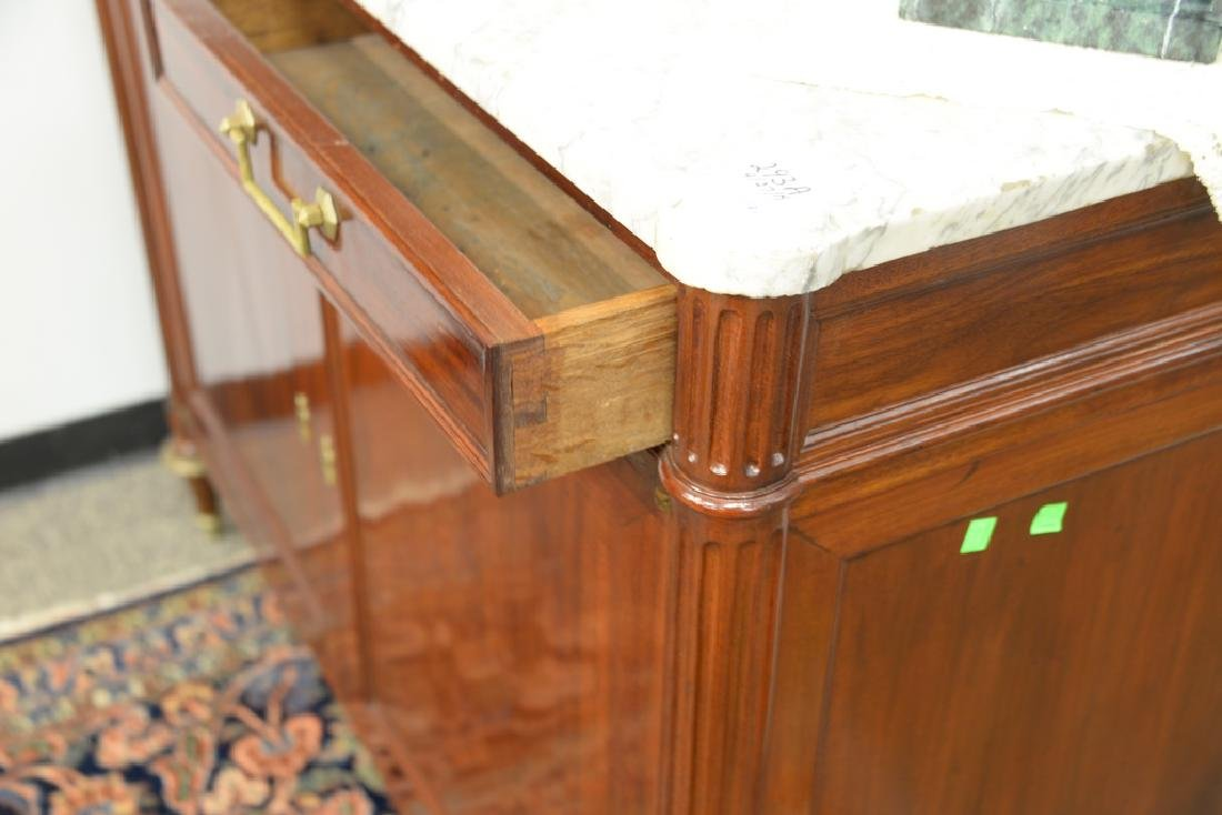 Louis XV style mahogany cabinet having marble top with - 4