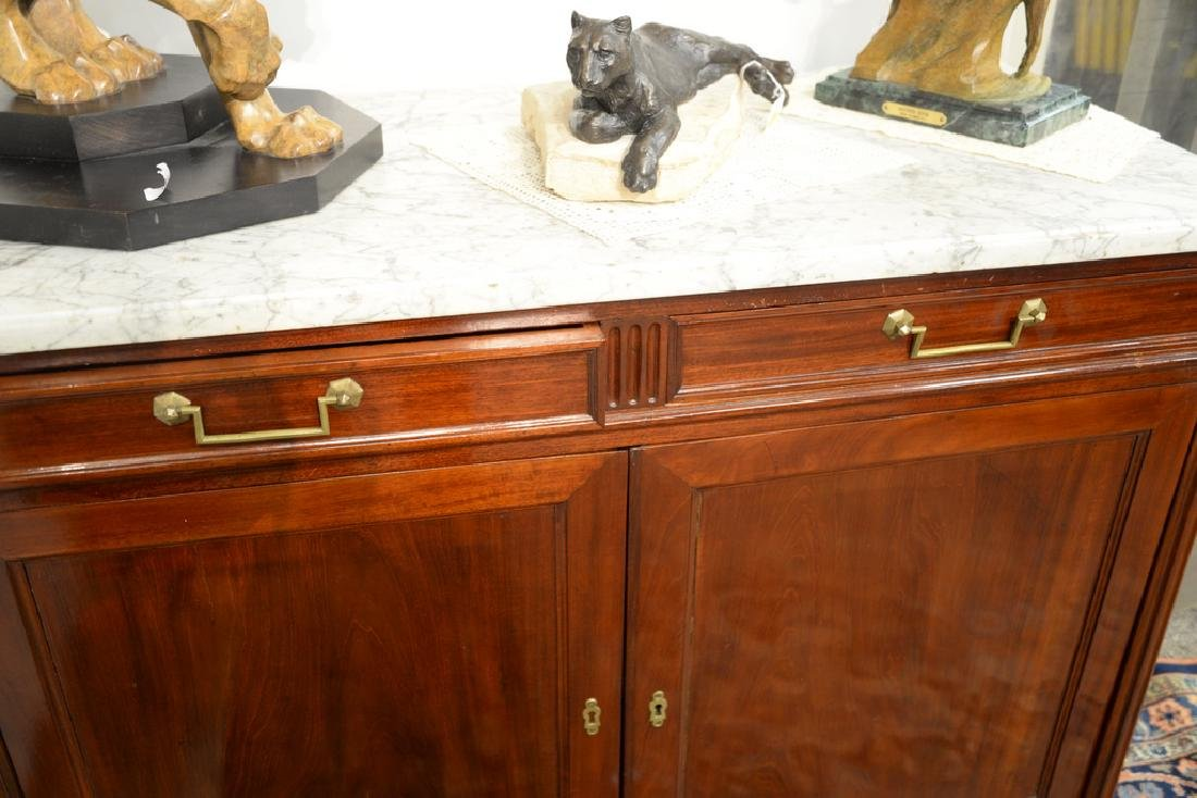 Louis XV style mahogany cabinet having marble top with - 5
