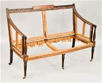Federal inlaid mahogany settee having rectangular
