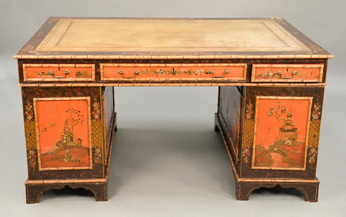 George IV partner's desk with tooled leather top and