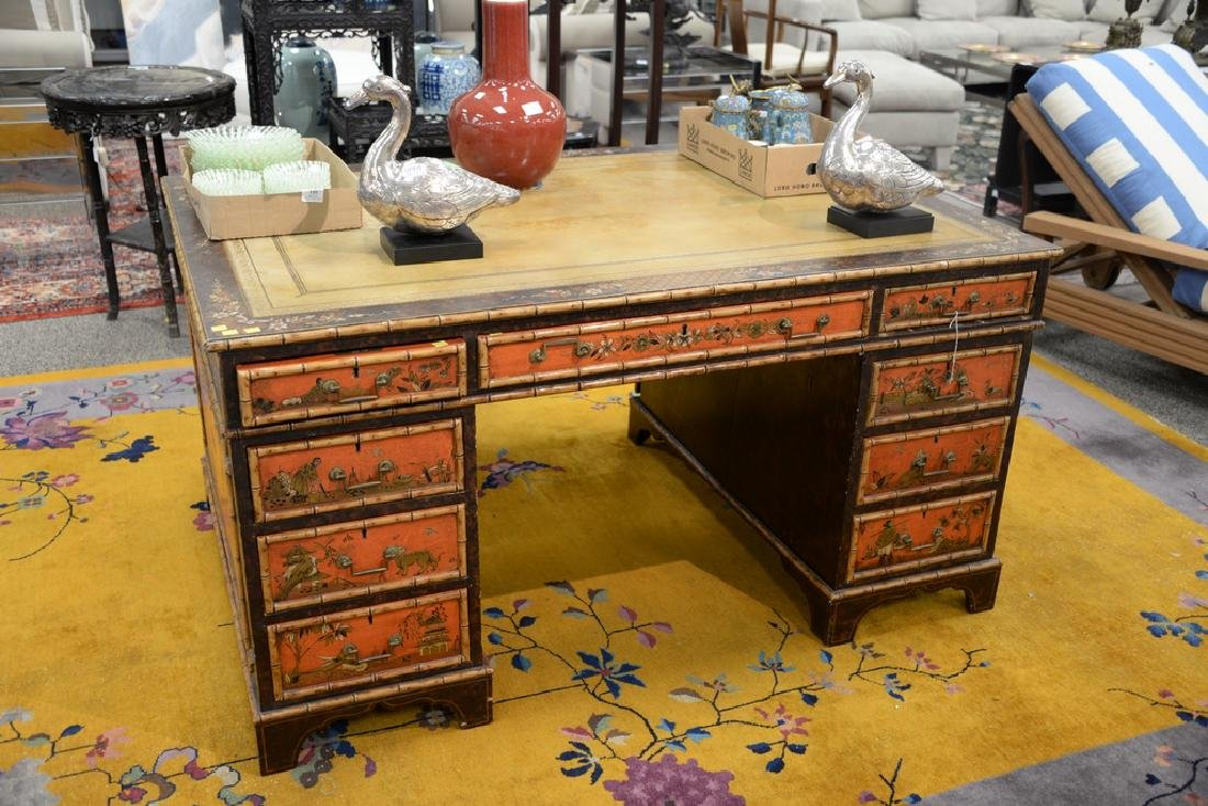 George IV partner's desk with tooled leather top and - 2
