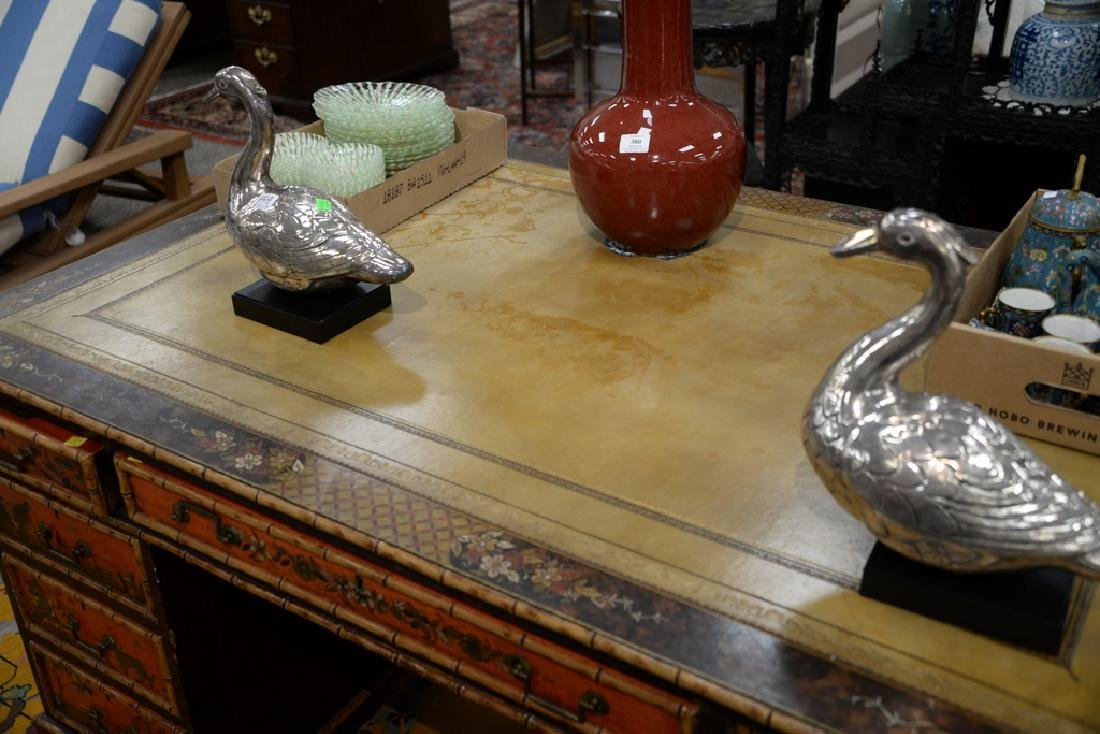 George IV partner's desk with tooled leather top and - 3