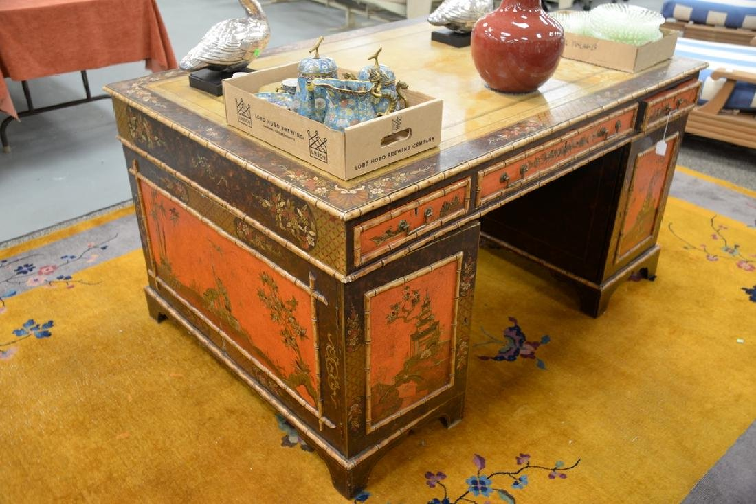 George IV partner's desk with tooled leather top and - 4