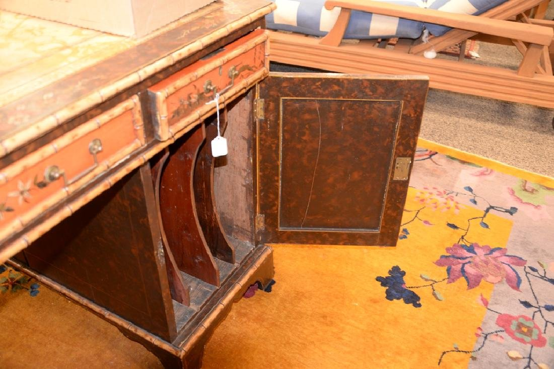 George IV partner's desk with tooled leather top and - 5