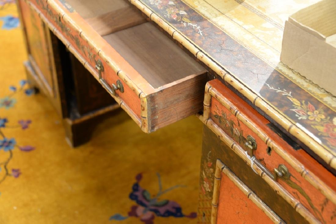 George IV partner's desk with tooled leather top and - 6