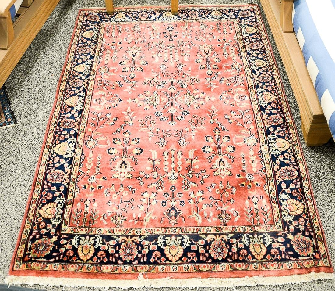 "Sarouk Oriental throw rug.  3'10"" x 6'"