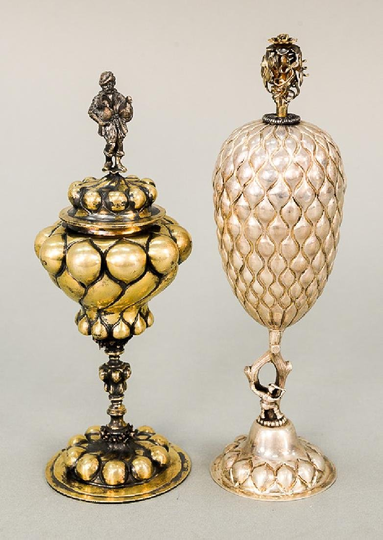 Two silver covered chalices, one marked sterling with