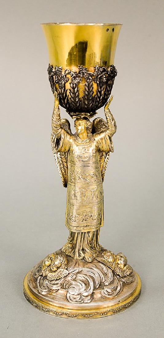 Continental silver chalice with gilt decorated cup