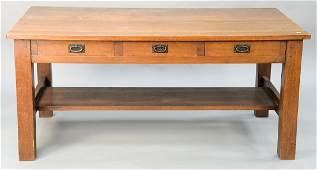 Gustav Stickley mission oak library table three