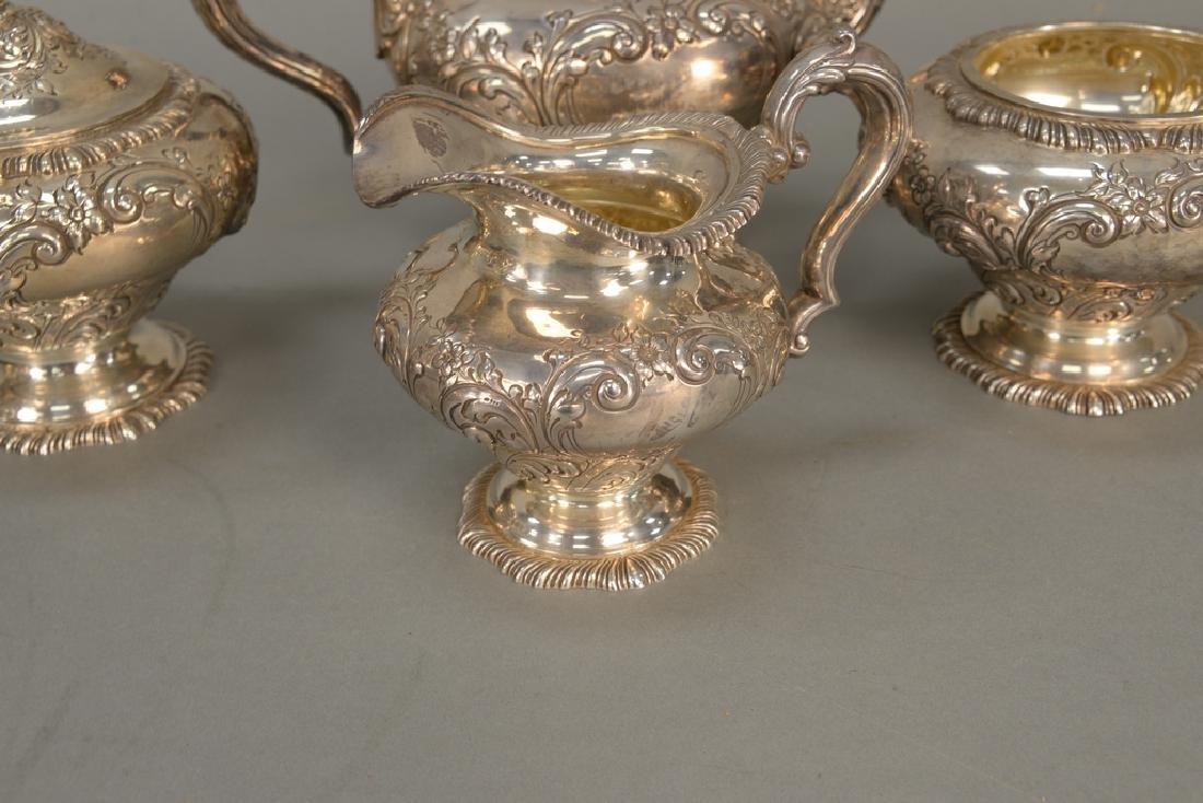 Four piece sterling silver tea set including teapot, - 3