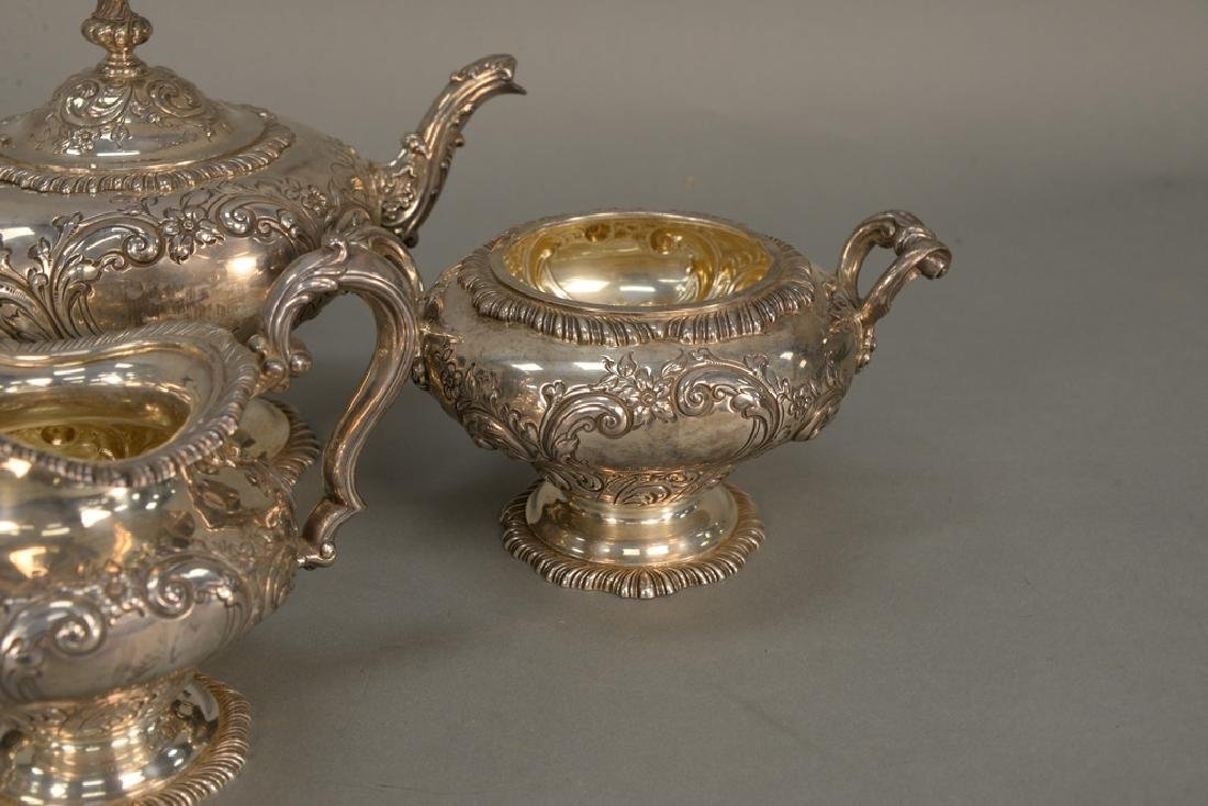 Four piece sterling silver tea set including teapot, - 4