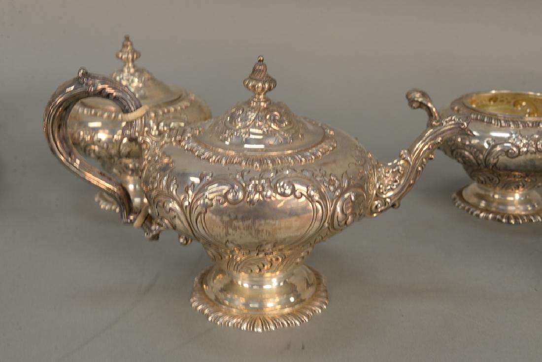 Four piece sterling silver tea set including teapot, - 5