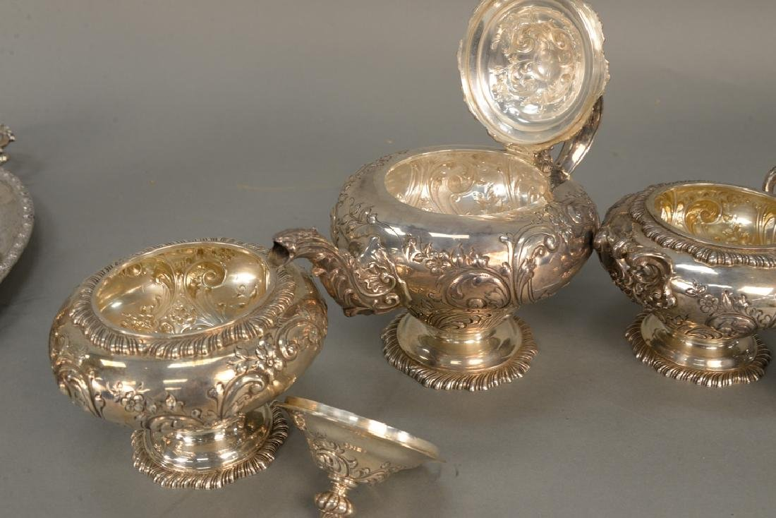 Four piece sterling silver tea set including teapot, - 6
