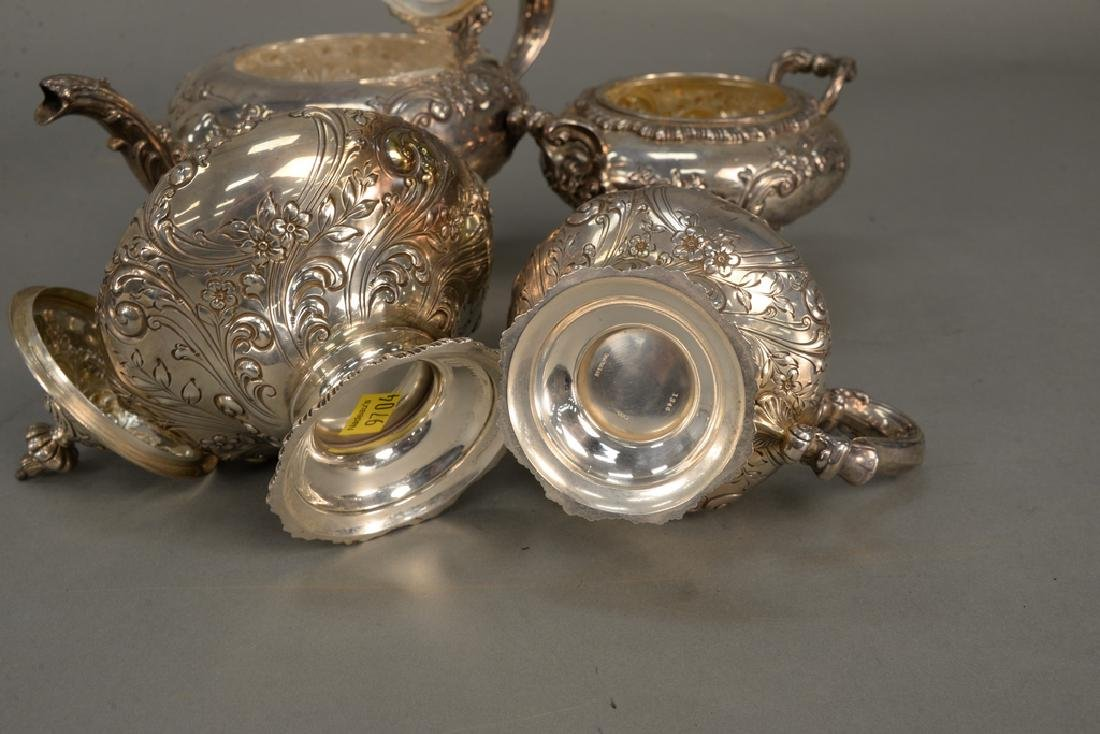 Four piece sterling silver tea set including teapot, - 7