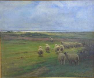 Carleton Wiggins (1848-1932), oil on canvas, sheep in